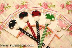Felt Mushroom Bookmark Handmade Bookmarks Polka by SysimetsaDesign