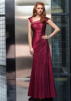 Stretch Taffeta    Dress and stole. Colors: Grape, Black, Taupe, Charcoal. Sizes Available: 2-26.