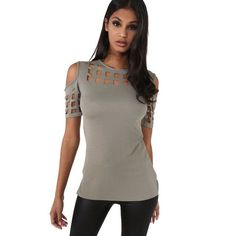VITIANA Womens Short Sleeve T-shirt Ladies Fashion Red Pink Black Hollow Out Slim Spring Summer Casual Hot Tees Tops