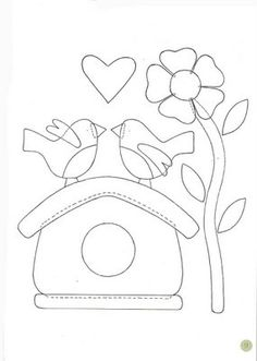 Bird house flower heart embroidery pattern