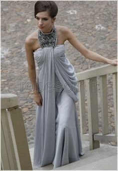 Lori s Grey A-line Princess High Neck Chiffon Beaded Maternity gown for the  Red Cross Ball in