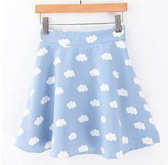 Cloud print skater skirt