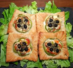 I served these vegetable tartlets with some homemade potato wedges and a fresh green salad and it made for a very substantial meal. The tartlets were a great combination of crispy puff pastry that encased a selection of soft, fresh vegetables and creamy feta and parmesan cheese. They're an excellent option for a meat-free meal.