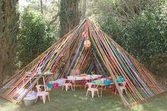 Ribbon tent for Babychella Festival Garden Party, Festival Themed Party, Diy Festival, Garden Party Decorations, Festival Decorations, Outdoor Birthday Decorations, First Birthday Parties, First Birthdays, Backyard Birthday