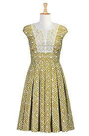 I <3 this Embellished graphic print poplin dress from eShakti