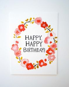 Items similar to happy happy birthday- card & envelope on Etsy Cute Birthday Cards, Birthday Greetings, Birthday Wishes, Watercolor Lettering, Watercolor Cards, Happy Birthday Hand Lettering, Happy B Day, Card Envelopes, Doodle Drawings