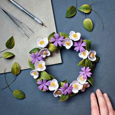 """858 Likes, 35 Comments - Manuela Koosch (@paper_to_petal) on Instagram: """"A commission for a floral wreath with sweet mock-orange and geranium. It's been awhile since I…"""""""