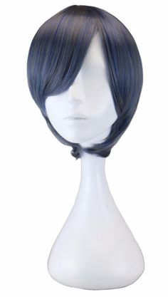 Short Blue Gray Cosplay Wig For Black Butler Ciel Phantomhive Anime Party Costume Synthetic Wigs Men's Party Pelucas Peruk