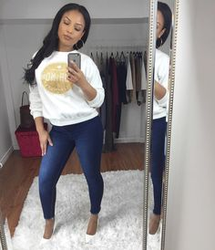 HAAAY! Sweater: @grandslammers  Jeans: @fashionnova use code XOLATOYA for $$$ off. (Double Trouble jeans) Heels: @lolashoetiquedolls