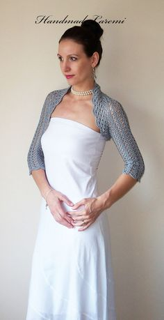 Gray Wedding Bolero Shrug cotton lace crochet bolero jacket Bridal Elegant Bolero Jacket Silver Shrug Silver Bolero Jacket