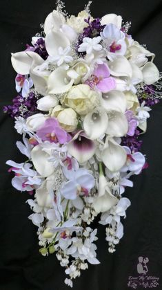 Cascading round peony calla tulip lilac orchid by DressMyWedding Orchid Bridal Bouquets, Bride Bouquets, Purple Wedding Flowers, Flower Bouquet Wedding, Wedding Lavender, Tulip Wedding, Bridal Flowers, Hosta Flower, Cascade Bouquet