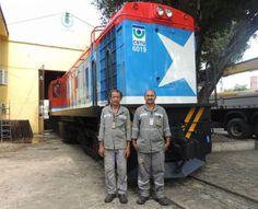 Pregopontocom Tudo: Locomotiva 6019 é recuperada na CBTU Maceió -    Transportes sobre trilhos  A locomotiva atua em Alagoas desde 1957 e sofre deterioração com a maresia e os desgastes do cotidiano. Ela foi pintada nas cores da bandeira de Alagoas e teve sua arte criada pelo artista plástico da CBTU, Agélio Novaes, exaltando a Estrela Radiosa.