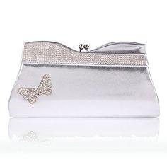 e1230e1e38c0 Damara Womens Glitter Winged Kiss Lock PU Evening Party BagSilver --  Continue to the product