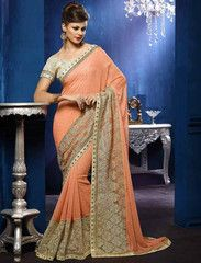Shades Of Peach Color Wrinkle Chiffon Festival & Function Sarees : Raisa Collection YF-30633
