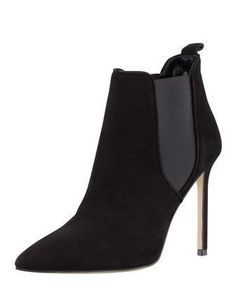 Tungade Pointy Suede Ankle Boot, Black by MANOLO BLAHNIK at Bergdorf Goodman. #manoloblahnikheelsbergdorfgoodman #manoloblahnikheelschristianlouboutin
