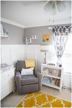 Gray and Yellow Preppy Nursery Corner