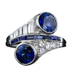Art Deco Sapphire Diamond Bypass Ring - don't really like the baguettes on 1 side & the rounds on the other -would prefer all rounds (who am I kidding - LOVE IT)