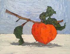 Original Oil Painting 11x14 ORANGE GARDEN PERSIMMON Lynne French Still Life Art. $62.00, via Etsy.