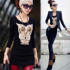 I find this Lovely Owl Sequins Velvet Long Sleeve Tops Bottoming Shirt for  long… Autumn 28f3210b62dd