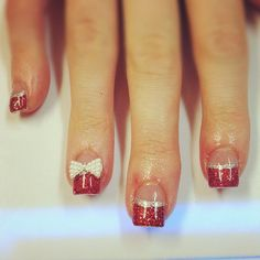 cute red glitter polish tips with silver glitter line