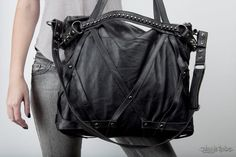 Rage Cage Black Leather Laptop Purse Bag by JungleTribe on Etsy
