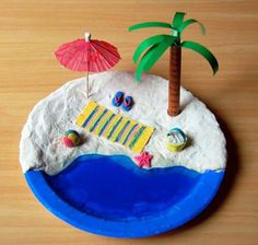 Mini Beach craft : Construct a miniature beach scene on a paper plate with dough, sand, and a jelly ocean! Description from pinterest.com. I searched for this on bing.com/images