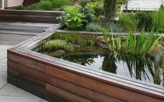 vyvýšené záhony na střešní zahradě včetně vodního prvku / raised beds on the roof garden including a water feature Garden Bridge, Roof Gardens, Outdoor Structures, Terraces, Green, Garden Ideas, Decks, Terrace, Landscaping Ideas