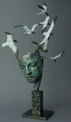 'Know more the sea'. Bronze with patina. Sculpture Clay, Bronze Sculpture, Anatomy Sculpture, Elements Of Art, Art Model, Wire Art, Ceramic Art, Garden Art, Art Dolls