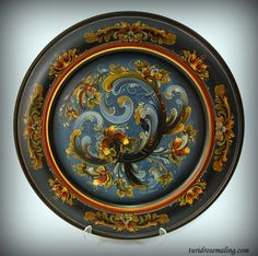 Blue plate painted in Telemark style by Turid Helle Fatland, Norway
