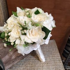 Fragrant gardenias with baby Japanese roses Lily Pad Floral Design WeddingBOuquet