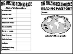 """The Amazing Reading Race "" Students begin their reading passports by filling out information about themselves and gluing (or drawing) a picture of themselves on the front of their reading passports. After students have read a book, they should find that genre/continent in their reading passports and write a summary about the book."