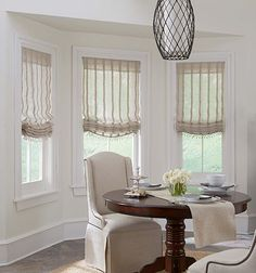 Boutique Relaxed Roman Shade shown in Remi Stripe: Ecru Bay Window Treatments, Window Coverings, Window Treatments Living Room, Farmhouse Style Curtains, Relaxed Roman Shade, Curtains With Blinds, Valances, Bay Window Curtains, Decoration