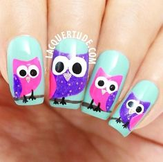Owl nail art, would put only one owl on nails and use different colors on the rest of the nails, still like them