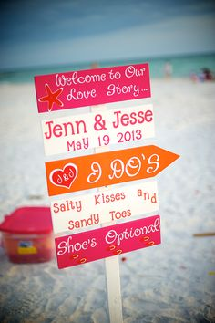 #orange #pink beach wedding sign