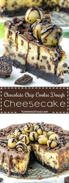CHOCOLATE CHIP COOKIE DOUGH CHEESECAKE - This Chocolate Chip Cookie Dough cheesecake will satisfy your cookie dough cravings and is sure to impress your family and friends!