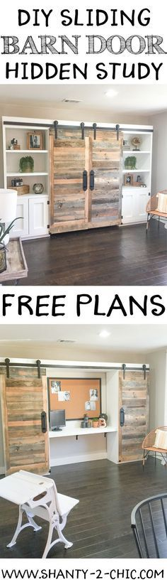 This sliding barn door hidden study is perfect for creating an office space when you don't have the room! Easy to customize and perfect for so many rooms! Free plans at http://www.shanty-2-chic.com