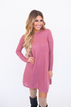 French Terry Long Tunic- Dusty Rose - Dottie Couture Boutique