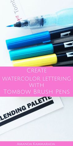 Tombow Tutorial: Create Watercolor Brush Lettering #tombow #handlettering #brushcalligraphy #moderncalligraphy #watercolor