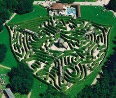 The dreilanden maze in the Netherlands. Designed by Adrian Fisher. Nice shield shape.
