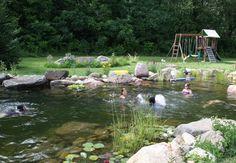 Kids Swimming in Pond