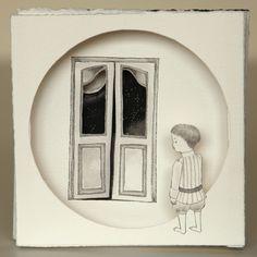 Thais Beltrame / Quando Você se Perde à toa / Nanquim e aquarela sobre assemblage de papel - 2013 - 14 x 14 cm