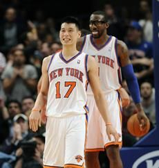 """Jeremy Lin dribbles down the clock then calmly nails a three as the shot-clock expires to give the Knicks their first lead since the first quarter 90-87. The crowd goes insane and the Raptors call timeout."" - USA Today live blogging the Knicks/Raptors game Tuesday night. Shortly after that message, the Knicks were declared the winners, 90-87.    http://content.usatoday.com/communities/gameon/post/2012/02/linsanity-live-knicks-face-raptors-welcome-back-stoudemire/1#.TzscPsWXS8A"