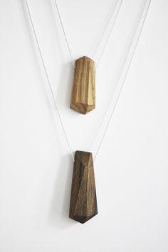 lange Kette aus Holz, Diamant // long necklace, wooden diamond pendant via DaWanda.com