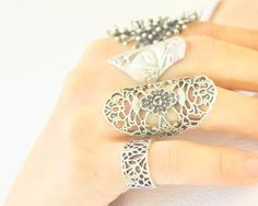 silver plated filigree ring reef ring woman by SoophieAccessory silver plated filigree ring, reef ring, woman face, unisex ring, sideways, natural, marine, ocean, nautical jewelry, oriental, retro boho unisex rings, silver ethnic rings, art deco, Antique Silver Plated Ring, lack, retro punk, mix midi, joint, middle finger, knuckle bohemian jewelry vintage ring, Historical Ancient
