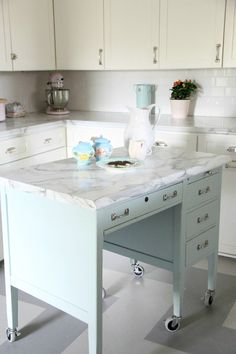 gorgeous DIY kitchen island from a desk