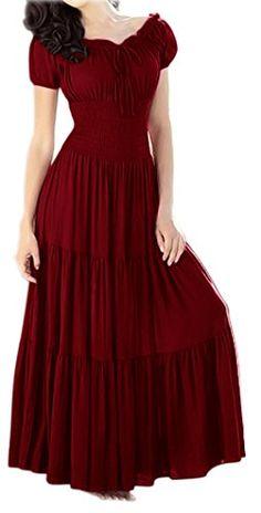 Peach Couture Gypsy Boho Cap Sleeves Smocked Waist Tiered Renaissance Maxi Dress (Maroon, XL) Peach Couture http://smile.amazon.com/dp/B00N39V702/ref=cm_sw_r_pi_dp_6SABvb05VDDSW