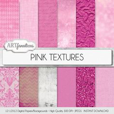 Pink digital papers PINK TEXTURES shabby chic pink by Artfanaticus