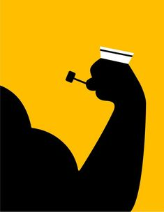 """For 100 years it was thought spinach was full of iron...until somebody checked it"" #popeye #spinach - illustration by Noma Bar : www.dutchuncle.co.uk/noma-bar"
