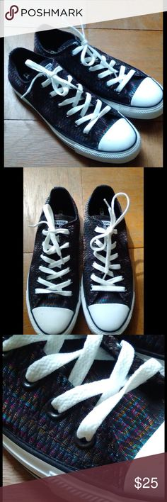 CONVERSE SNEAKERS, NWOT NWOT, Converse All Star men's sz 7, or women's sz 9, black/multicolor metallic low top sneakers. Will ship right away. Check out my other designer items Converse Shoes Athletic Shoes