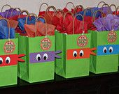 """Teenage Mutant Ninja Turtles goody bags! Perfect to hold """"toxic ooze"""" as a party favor."""